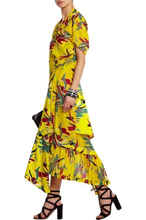MARNI Printed poplin and twill dress