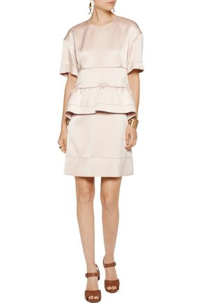 MARNI Satin peplum mini dress