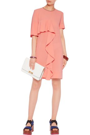 MARNI Ruffle-paneled silk-blend crepe mini dress
