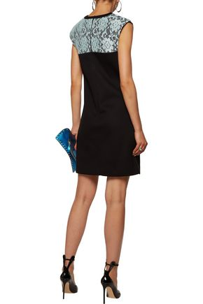 CHRISTOPHER KANE Corded lace-paneled neoprene mini dress