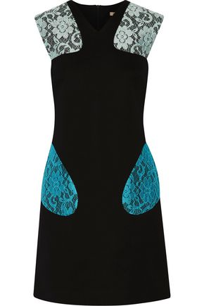 CHRISTOPHER KANE Corded lace-paneled neoprene mini dress