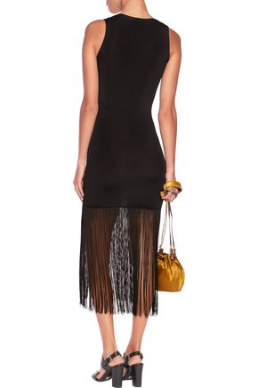 CHRISTOPHER KANE Fringed stretch-knit midi dress