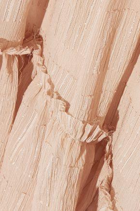 LOVESHACKFANCY Pamela one-shoulder fil coupé silk-blend georgette dress