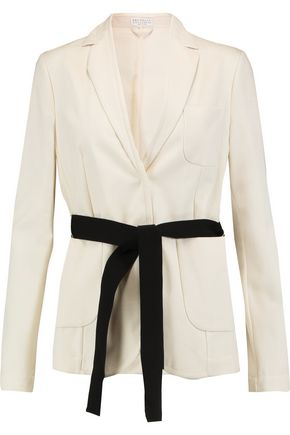 BRUNELLO CUCINELLI Belted cotton-faille blazer