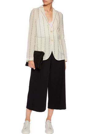 BRUNELLO CUCINELLI Embellished striped cotton-gauze blazer