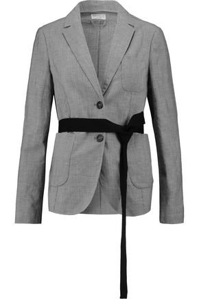 BRUNELLO CUCINELLI Houndstooth wool and linen-blend jacket