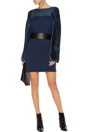 MAISON MARGIELA Faux fur-paneled wool-blend dress