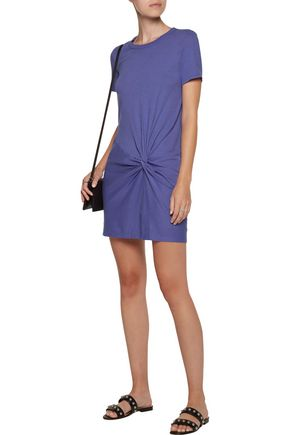 ENZA COSTA Knotted cotton-jersey mini dress