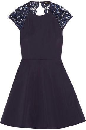 MAJE Embellished satin mini dress