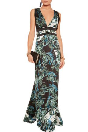 JUST CAVALLI Printed satin maxi dress