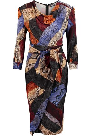 JUST CAVALLI Wrap-effect draped snake-print jersey dress