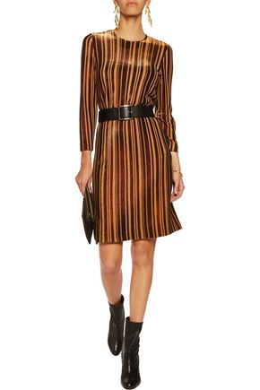 JUST CAVALLI Striped metallic-knit mini dress