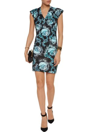 JUST CAVALLI Printed stretch-satin jersey mini dress