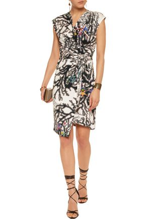 JUST CAVALLI Wrap-effect printed stretch-jersey mini dress