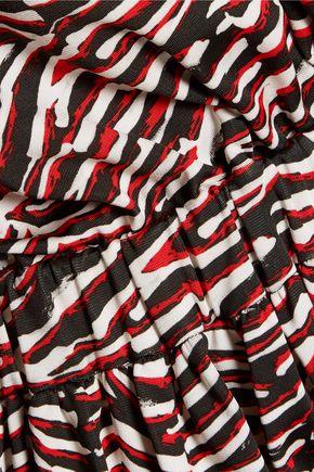 JUST CAVALLI Pleated zebra-print stretch-jersey mini dress