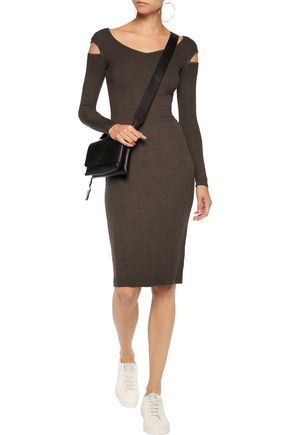 ENZA COSTA Cutout ribbed stretch-jersey midi dress