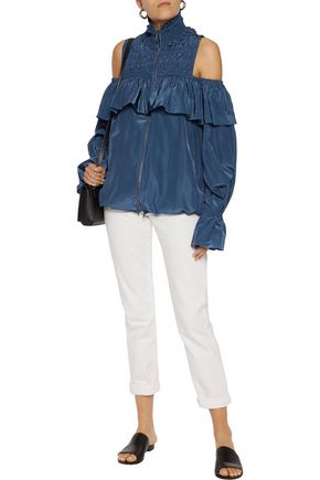SEA Cold-shoulder shirred shell jacket