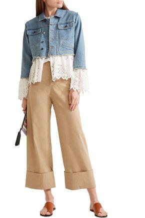 SEA Broderie anglaise cotton-paneled denim jacket