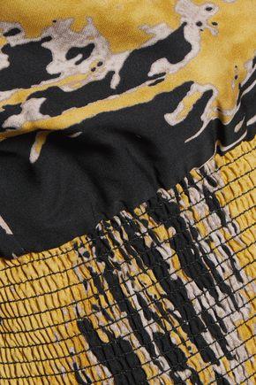 HALSTON HERITAGE Gathered printed silk gown