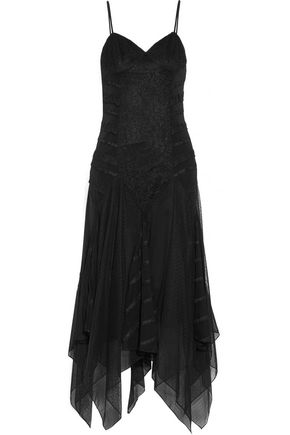 HAUTE HIPPIE Marty's Girlfriend asymmetric ruffled lace, point d'esprit and silk crepe de chine midi dress