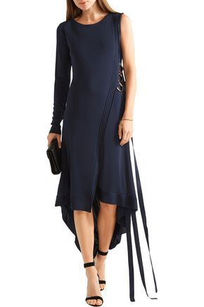 ANTONIO BERARDI Asymmetric one-shoulder stretch-knit wrap dress