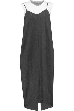 BRUNELLO CUCINELLI Layered wool, silk and cashmere-blend dress