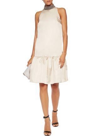 BRUNELLO CUCINELLI Bead-embellished satin dress