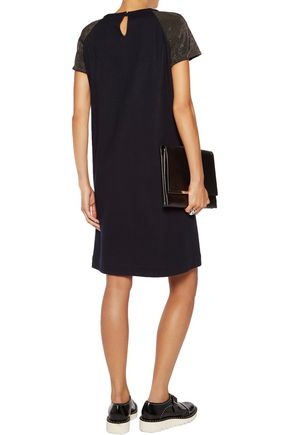 BRUNELLO CUCINELLI Chain-trimmed wool and cotton-blend dress