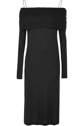 BRUNELLO CUCINELLI Off-the-shoulder stretch-wool dress and stretch-silk satin midi slip dress set