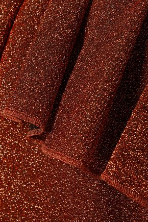 MM6 MAISON MARGIELA Ruffled metallic stretch-knit mini dress