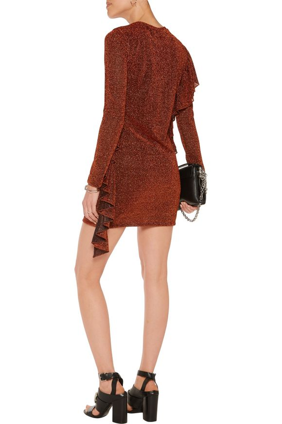 Ruffled metallic stretch-knit mini dress | MM6 by MAISON MARGIELA | Sale up  to 70% off | THE OUTNET