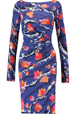 Ruched Printed Jersey Dress by Emilio Pucci