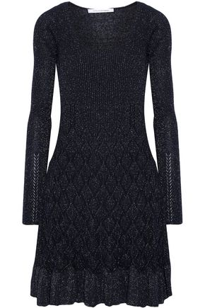 DIANE VON FURSTENBERG Perlita metallic cable-knit mini dress