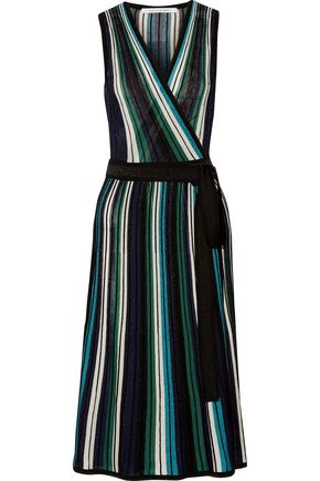 DIANE VON FURSTENBERG Cadenza metallic stretch-knit wrap dress