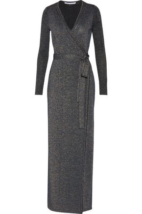 DIANE VON FURSTENBERG Evelyn metallic wool-blend wrap maxi dress