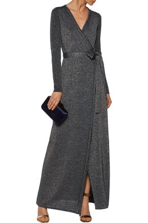 DIANE VON FURSTENBERG Evelyn wrap-effect metallic merino wool-blend maxi dress