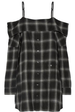 R13 Cold shoulder checked cotton-blend dress