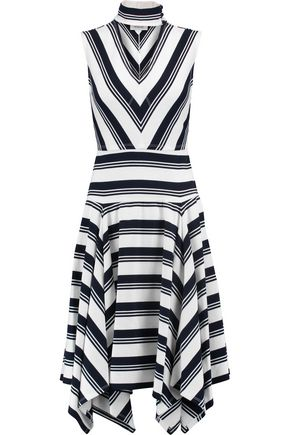DEREK LAM 10 CROSBY Asymmetric striped stretch-jersey dress