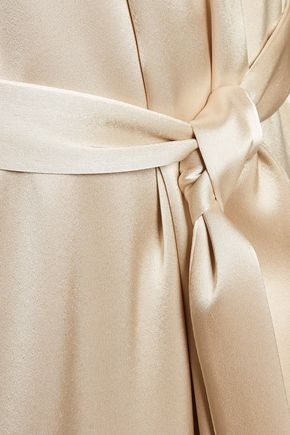 HALSTON HERITAGE Belted satin midi dress