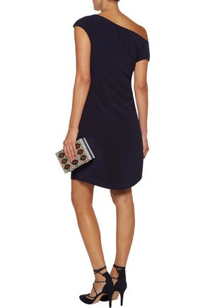 HALSTON HERITAGE Asymmetric wrap-effect crepe mini dress