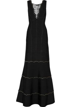 HERVÉ LÉGER BY MAX AZRIA Lace-up bandage gown