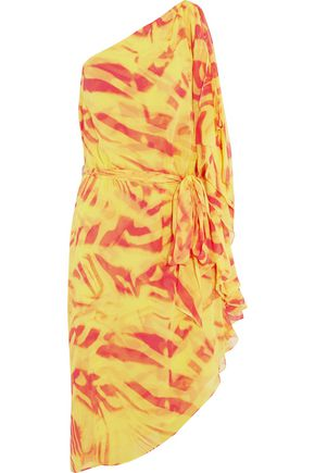 HALSTON HERITAGE One-shoulder crinkled printed silk-chiffon dress
