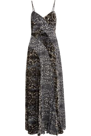 HAUTE HIPPIE Velvet and printed silk-chiffon maxi dress