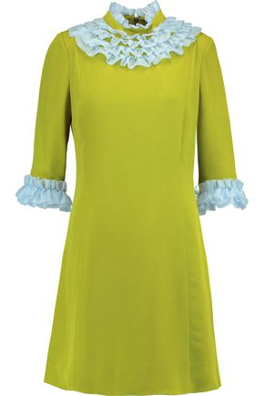 VIVETTA Two-tone ruffled silk organza-trimmed crepe dress