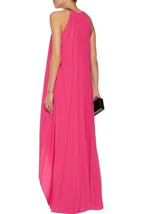 HALSTON HERITAGE Chain-embellished pleated crepe maxi dress