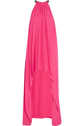 HALSTON HERITAGE Asymmetric bead-embellished pleated crepe maxi dress