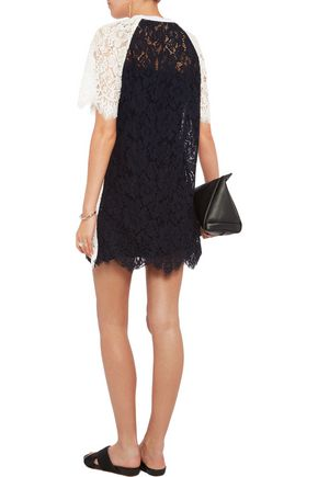 GOEN.J Two-tone paneled corded lace mini dress