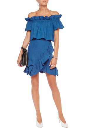 GOEN.J Off-the-shoulder ruffle-trimmed wrap-effect linen mini dress