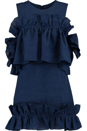 GOEN.J Cold-shoulder ruffled linen-chambray mini dress
