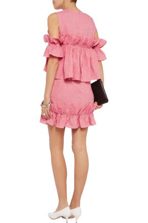 GOEN.J Cold-shoulder ruffled linen mini dress